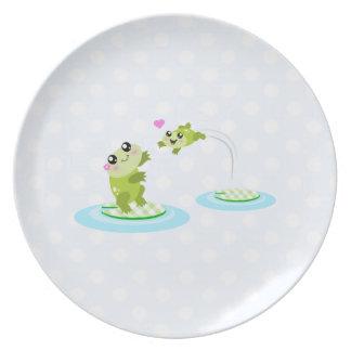Ranas lindas - madre del kawaii y rana del bebé plato de cena