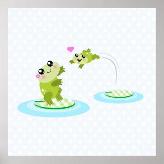 Ranas lindas - madre del kawaii y rana del bebé póster