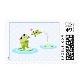 Ranas lindas - madre del kawaii y rana del niño sellos