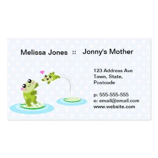 Ranas lindas - madre del kawaii y rana del niño tarjetas de visita