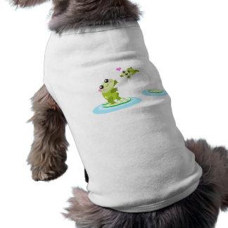 Ranas lindas - mamá del kawaii y dibujo animado de playera sin mangas para perro