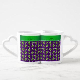 Ranas púrpuras conocidas personalizadas tazas para parejas
