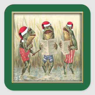 Ranas que cantan Felices Navidad Pegatina Cuadrada
