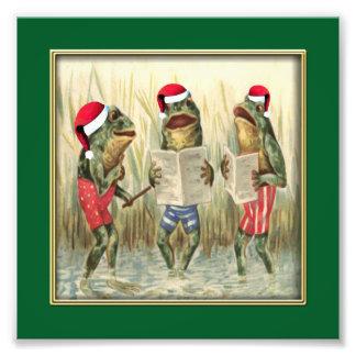 Ranas que cantan Felices Navidad Impresiones Fotográficas
