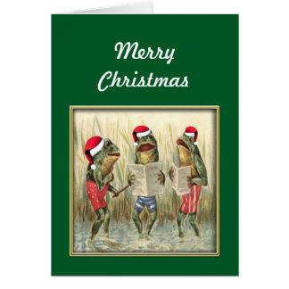 Ranas que cantan Felices Navidad Tarjeta De Felicitación