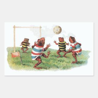 Ranas que juegan a fútbol rectangular pegatina