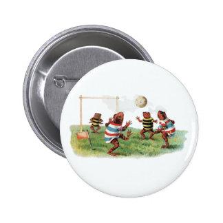 Ranas que juegan a fútbol pin redondo de 2 pulgadas