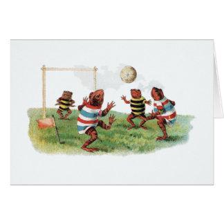 Ranas que juegan a fútbol tarjeta de felicitación