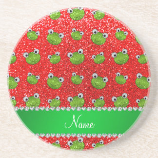 Ranas rojas de neón conocidas personalizadas del posavasos diseño