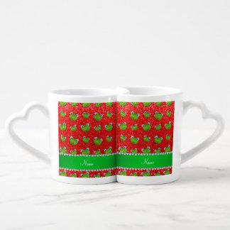 Ranas rojas de neón conocidas personalizadas del tazas para parejas