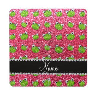Ranas rosadas fucsias conocidas personalizadas del posavasos de puzzle