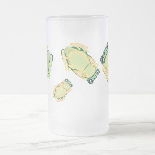 ranas sobre el vidrio taza de cristal