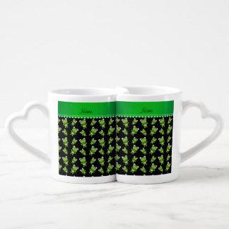 Ranas verdes negras conocidas personalizadas tazas para enamorados