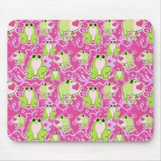 Ranas verdes rosadas del amor tapetes de ratón
