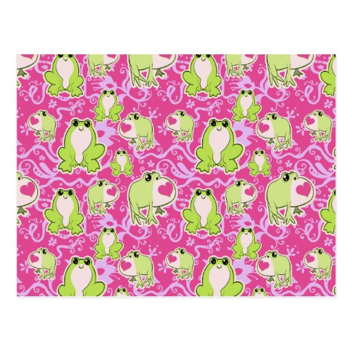 Ranas verdes rosadas del amor tarjeta postal