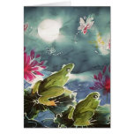 Ranas y flores tarjeta de felicitación