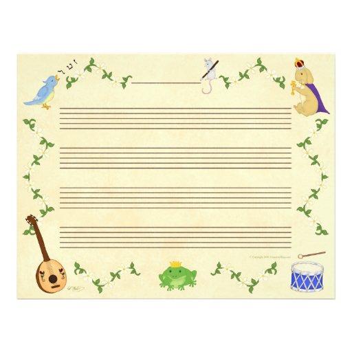 Ranas y papel del manuscrito de la música de los c membrete a diseño