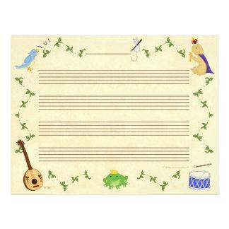 Ranas y papel del manuscrito de la música de los c membretes personalizados