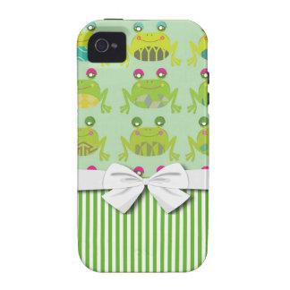 ranas y rayas felices enrrolladas lindas vibe iPhone 4 carcasas