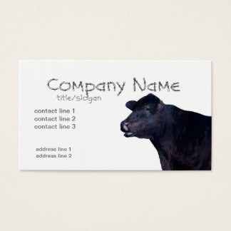 ranch farm business cards black Angus cow