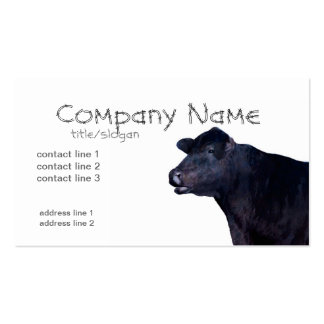 ranch farm business cards black Angus cow