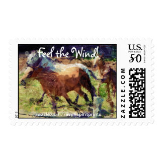 Ranch Horses Cantering Impressionist Art Postage