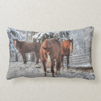 Ranch Horses Standing in a Winter Forest Lumbar Pillow