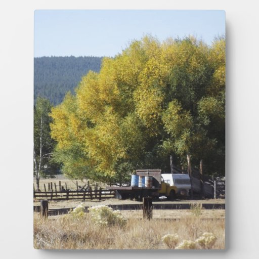 Ranch in Fall Photo Plaque