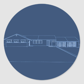 Ranch Style House: Blue Print Classic Round Sticker
