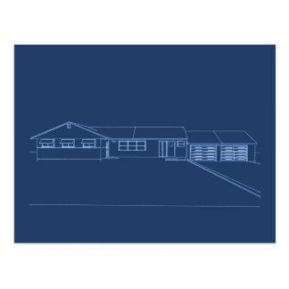 Ranch Style House: Blue Print: Postcard
