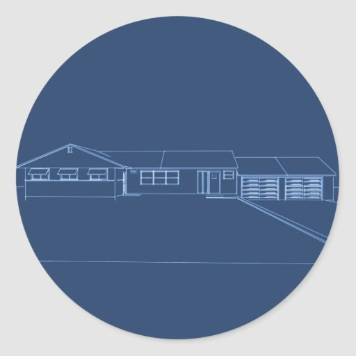 Ranch Style House: Blue Print Round Stickers