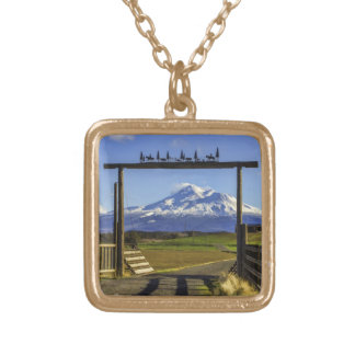 RANCH VIEW OF SHASTA SQUARE PENDANT NECKLACE