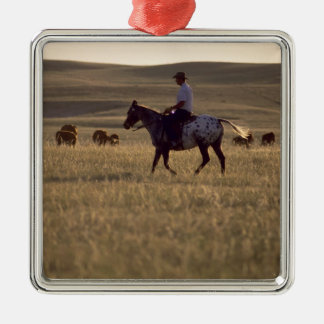 Rancher Buck Holmes riding a horse looking Metal Ornament