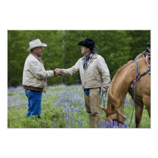 Ranchers shaking hands across the fencing in poster