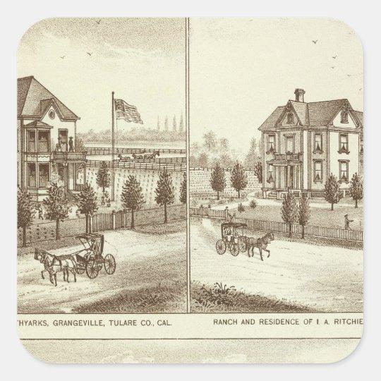 Ranches, Grangeville, Cal Square Sticker