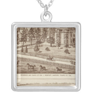 Ranches, Hanford, Cal Square Pendant Necklace