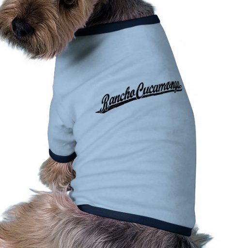 Rancho Cucamonga script logo in black distressed Dog Tshirt