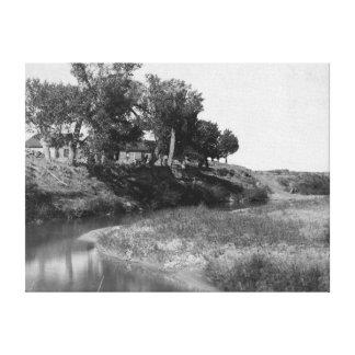 Rancho de la camiseta de la barra en la fotografía impresión en lienzo estirada