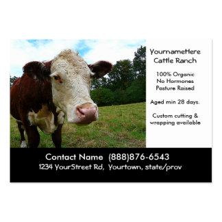 Rancho de la carne de vaca del ganado o tarjeta de tarjetas de visita grandes