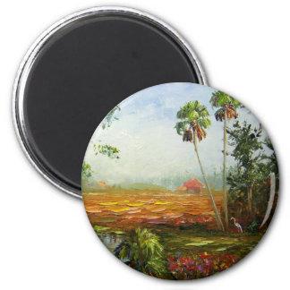 Rancho de la palmera imán redondo 5 cm