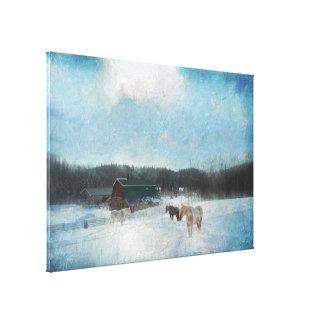 Rancho del caballo, graneros y pintura de la nieve impresiones en lienzo estiradas