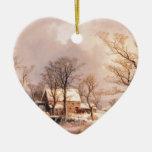 Rancho del destino del invierno del país del cabal ornamento para arbol de navidad