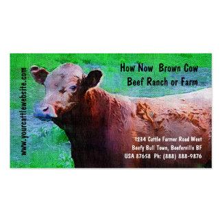 Rancho o granja de la carne de vaca del ganado plantillas de tarjeta de negocio