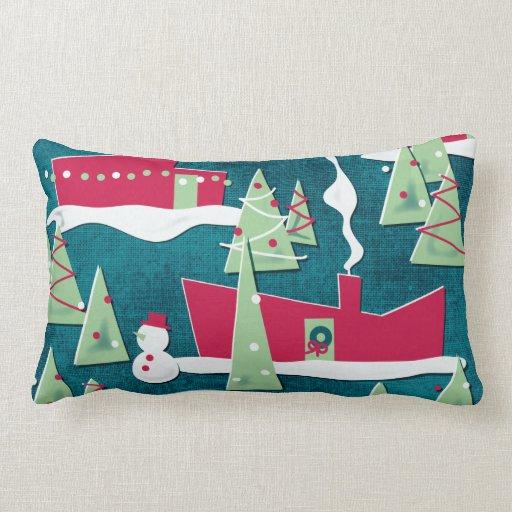 Rancho que viste la almohada retra del navidad -