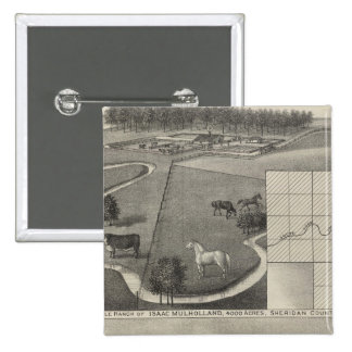 Rancho y residencia, Kansas de Isaac Mulholland Pin Cuadrada 5 Cm