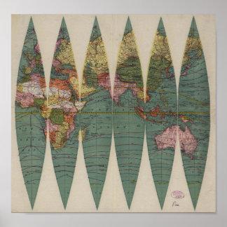 Rand antiguo McNally 1891 del mapa del mundo Posters