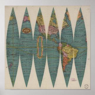 Rand antiguo McNally 1891 del mapa del mundo Póster