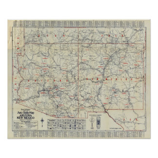 Rand McNally Official 1925 Auto Trails Poster