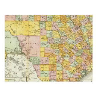 Rand McNally Railroad And County Map Of Texas Postcard