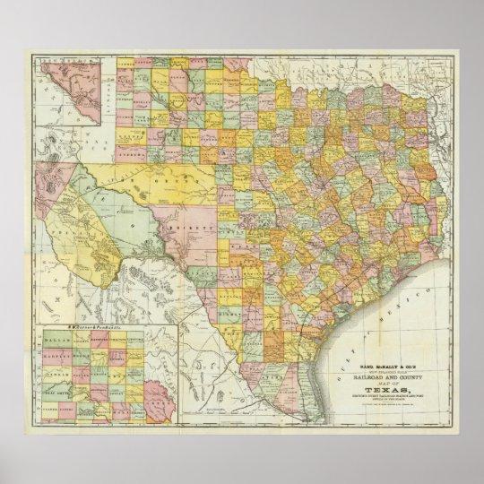 Rand McNally Railroad And County Map Of Texas Poster